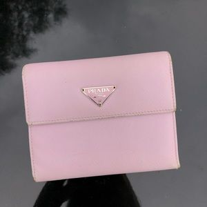 Prada Saffiano Leather Wallet Pink